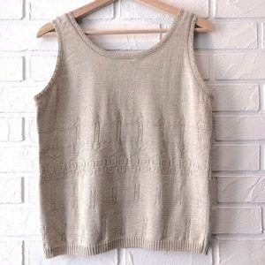 Vintage sleeveless neutral beige knit sweater tank